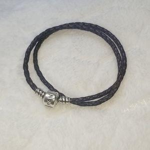 Pandora dark purple leather bracelet
